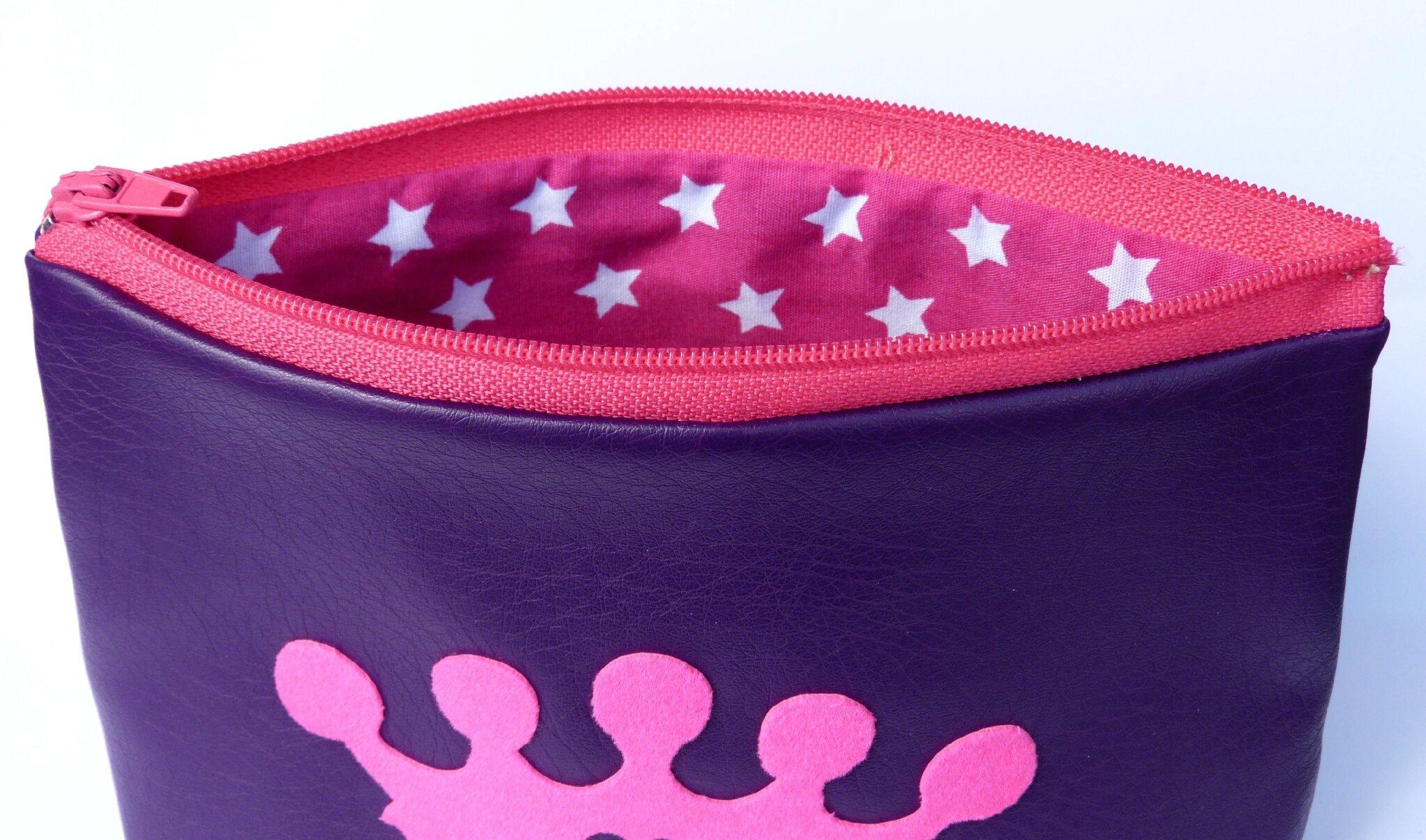 40. simili cuir violet et fuchsia - couronne flex velours rose - intérieur