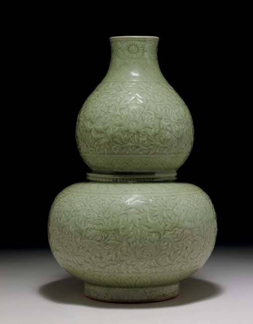 A Very Rare And Important Large Longquan Celadon Carved Double Gourd