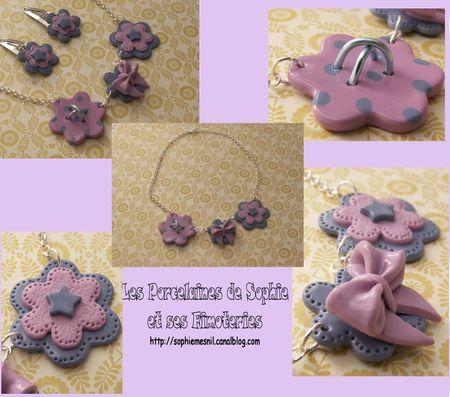 CollierNoeud rose et couture métal