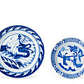 Two blue and white dishes, kangxi period (1662-1722)