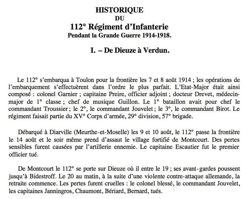 Historique 112e RI, transcription
