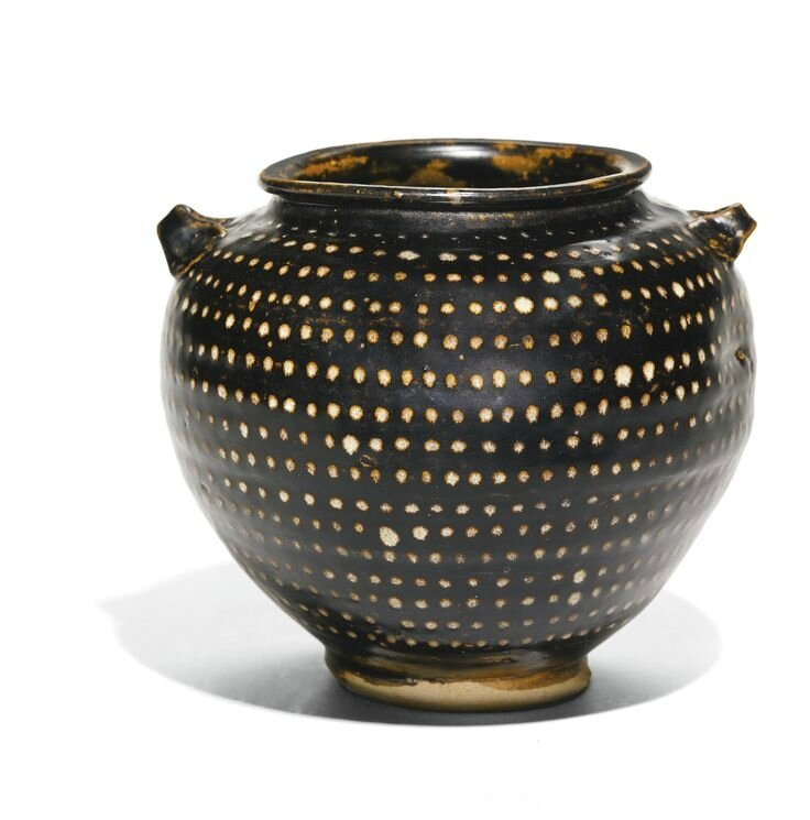 A 'Jizhou' white-spotted black-glazed jar, Yuan dynasty