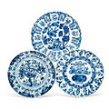 A group of three blue and white dishes, kangxi period (1662-1722)