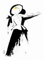 """Dessin pour le fameux tailleur """"Bar"""" de Christian DIor en 1947"""