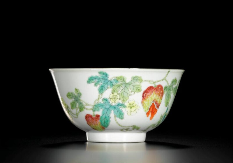 A famille-rose 'bamboo and fruit' bowl, seal mark and period of Daoguang (1821-1850)