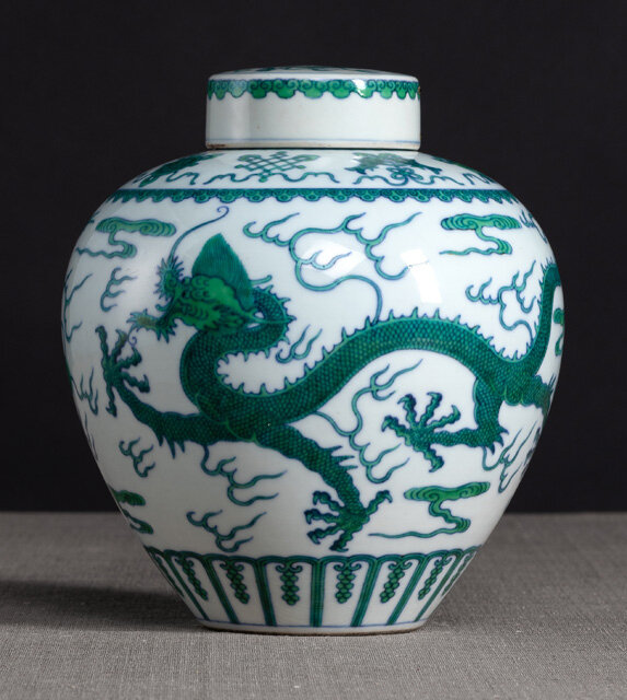 A fine underglaze-blue and green-enamelled 'Dragon' jar, Qianlong six-character seal mark in underglaze-blue and of the period
