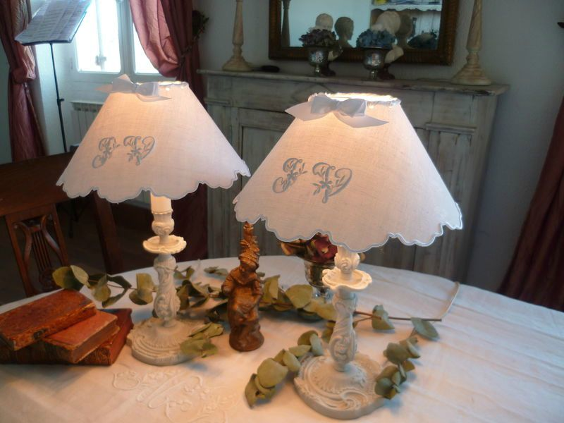 lampes JV patine gris perle