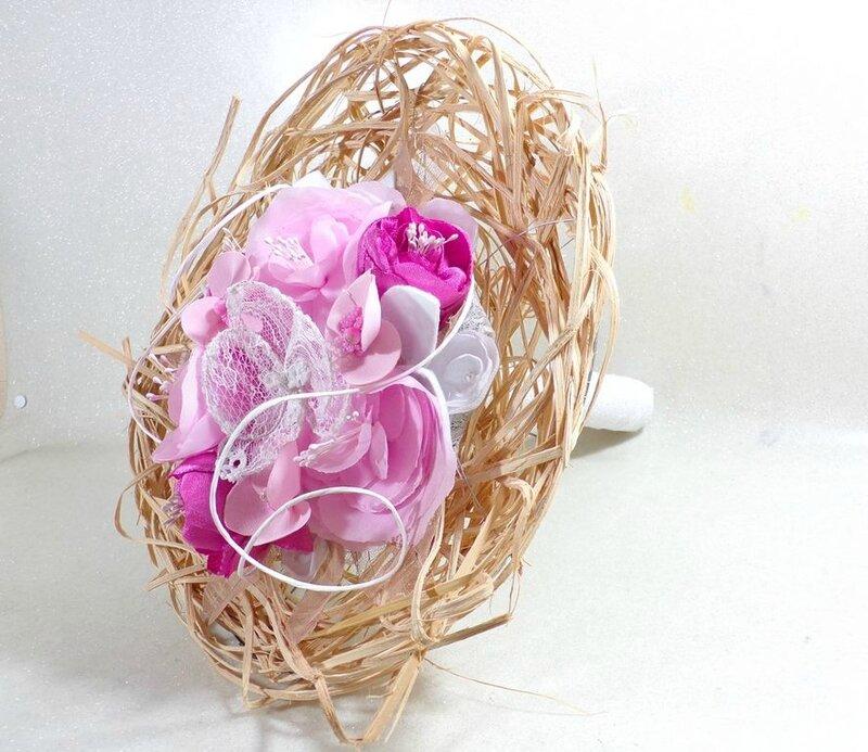 Bouquet de fleurs intemporel éternel tissu dentelle Orchidée pivoine roses