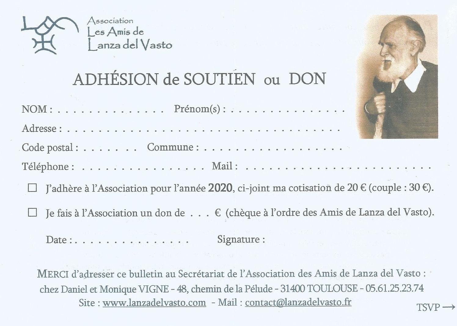 Pour l'Association des Amis de Lanza del Vasto.