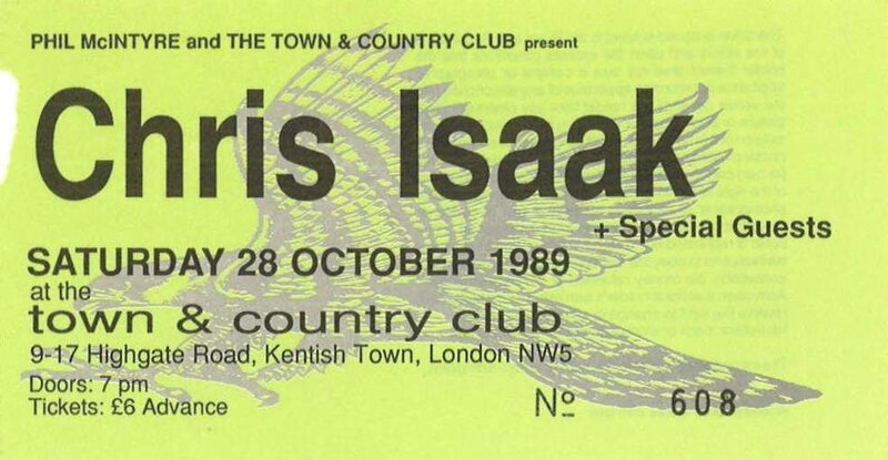 1989 10 Chris Isaak Town And Country Club Billet