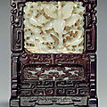 A rare white jade-inset zitan small table screen; jade plaque, jin-yuan dynasty, 13th-14th century, zitan screen, 18th-19th cent