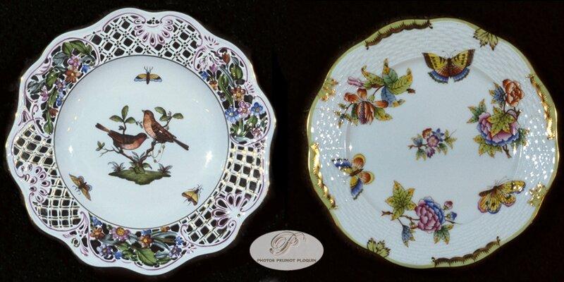 HONGRIE_HEREND_assiettes_en_porcelaine_ajouree_motif_Rothschild_et_motif_Victoria