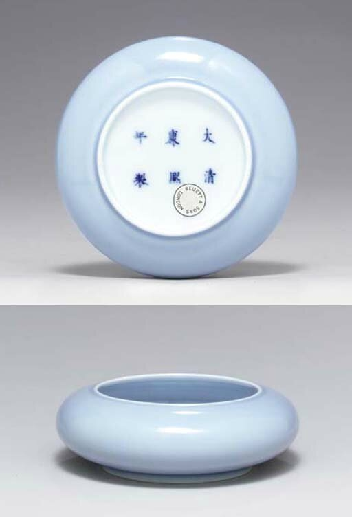A very fine and rare clair-de-lune brushwasher, tangle xi, Kangxi six-character mark in underglaze blue and of the period (1662-1722)