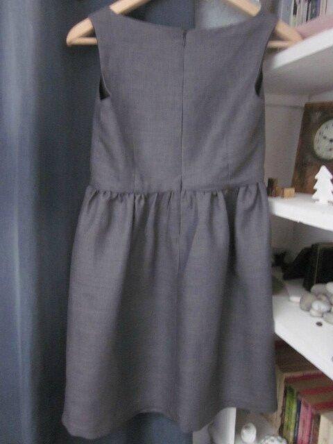 Robe ADELE en lin gris avec noeud de lin ciel - taille 36 (1)