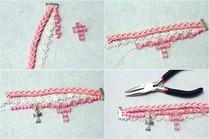 Easy-Tutorial-on-How-to-Make-a-Pink-Braided-Bead-Bracelet-with-Suede-Cord-step-2