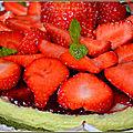 Gâteau-flan pistache aux fraises