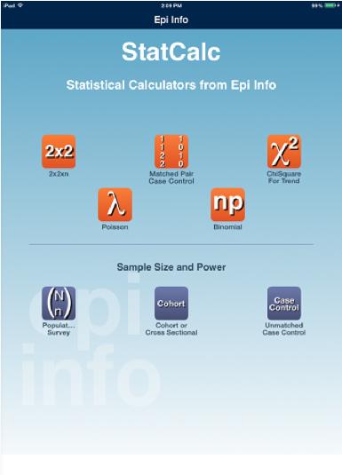 Epi Info iOS page départ
