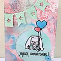 Birthday wishes card with a cute rabbit and a lot of colors, carte faite main, scrapbooking card