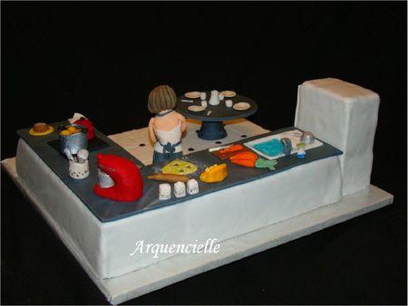 Gâteau cuisine, pâte à sucre, vue dos