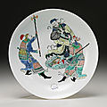 A famille-verte 'water margin' dish, qing dynasty, kangxi period (1662-1722)