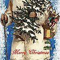 Carte (merry christmas) père-noël en blanc vintage (en anglais)