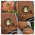 Plaqué or bracelet grains de café médailles 20 mm