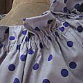 Robe ALBANE en coton parme grisé à pois violet (1)