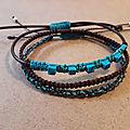 Lot de 3 bracelets en macramé et perles de howlite turquoise