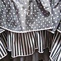 Robe champètre en lin blanc et popeline de coton gris et blanc à pois ou rayures - Veste BLANCHE en lin gris à pois blancs (4)