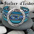 Période bleue qui commence ? peut-être avec ce bracelet manchette multirangs en tresse de cuir et liberty et cuir bleu !