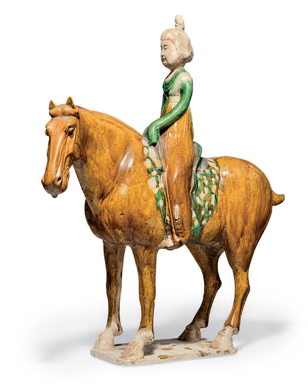 Asancai-glazed pottery figure of an equestrienne, Tang dynasty (AD 618-907)