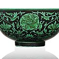An extremely rare black-ground green enamelled bowl, china, qianlong six-character seal mark and period