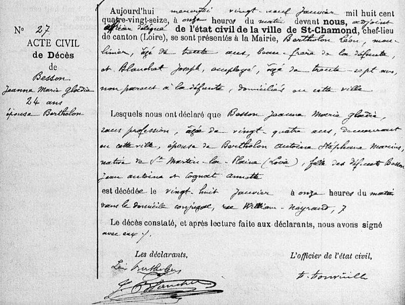 décès Jeanne Besson 1896
