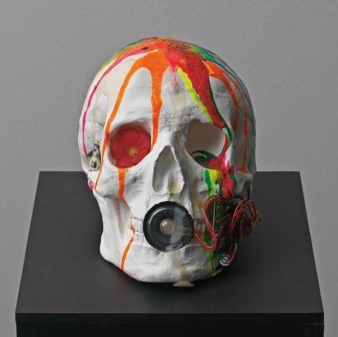 CTony Oursler, Mutant Skull, 1997-1998, Plaster, paint, sound, a