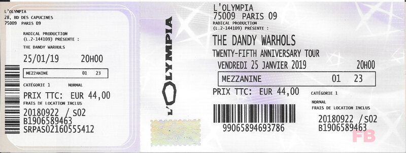 2019 01 25 The Dandy Warhols Olympia Billet
