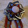 broche ruban satiné madras vert/bleu/marron