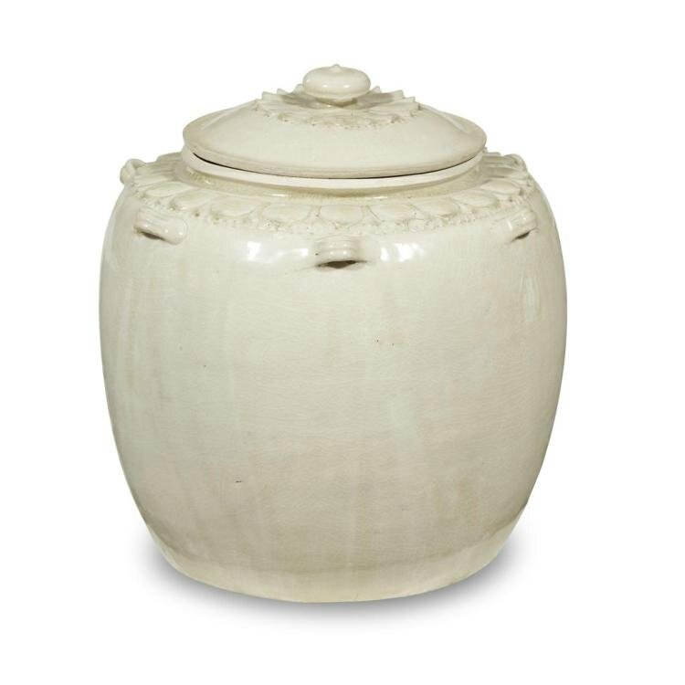 A Vietnamese white-glazed 'Lotus' jar and cover, Ly dynasty, 12th-13th century