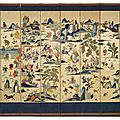 A silk eight-panel screen, korea, joseon dynasty, 19th century