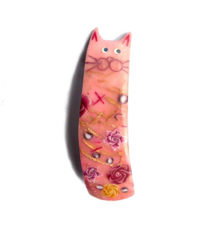 barrette chat rose 1