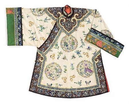 A_woman_s_cream_brocade_silk_ground_three_quarter_length_coat_with_elaborate_embroidered_decoration