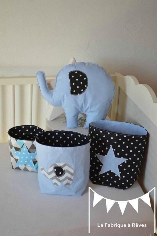 décoration chambre bébé garçon éléphant bleu noir gris étoiles