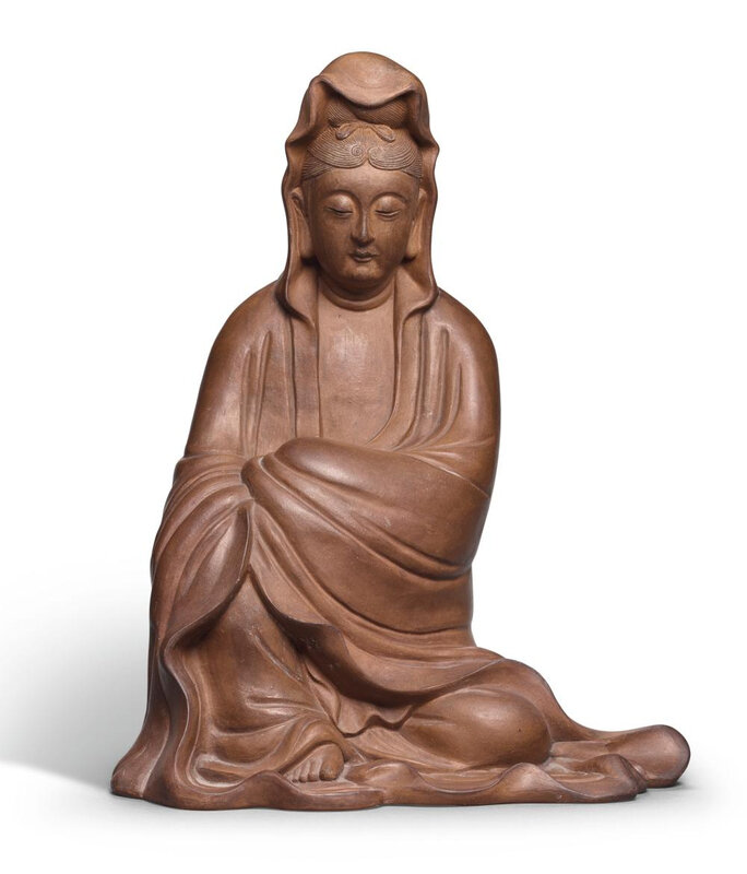 A rare Yixing figure of Guanyin, Ming dynasty, 17th century