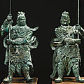 A large pair of bronze dvarapala gate guardians, ming dynasty