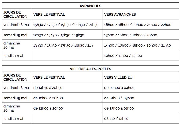 festival-Papillons de nuit-2018-P2N-navettes-horaires-Avranches-Villedieu