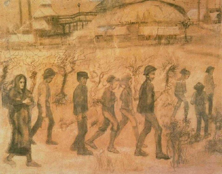 Dessin Van Gogh - Mineurs dans la neige