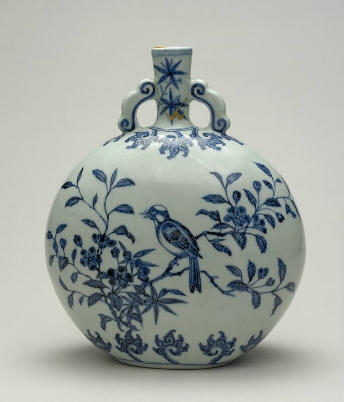 Blue-and-white moon flask with birds on flowering branches