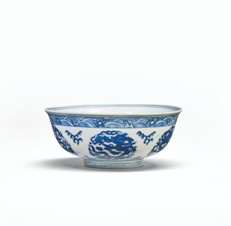 A blue and white 'dragon' bowl, Ming dynasty, Wanli six-character mark in underglaze blue in double circles and of the period (1573-1619)