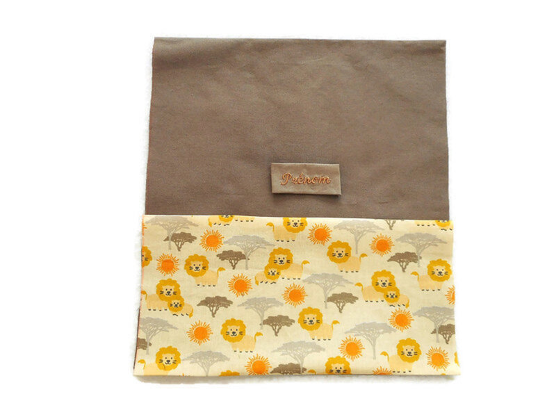 Sac chaussons taupe lion face