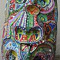 Hervé Tharel SCHMIMBLOCK'S masks 2013 - 13cm x 8,5cm gouache T7 sur argile