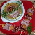 Velouté de melon et ses brochettes aux deux jambons.